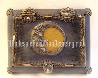 Medium Crescent Moon Wood Jewelry Box - Handmade in Peru