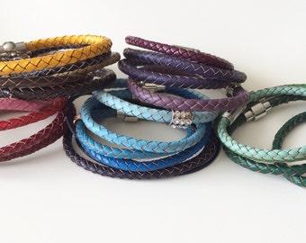 Cancer Awareness Leather Bracelet - Breast Cancer Awareness bracelet -  Lime Disease Awareness - Disease Awareness Jewelry