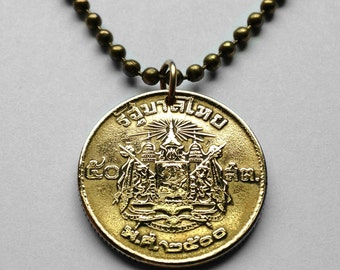 1957 to 1987 Thailand 50 Satang coin pendant Thai necklace Siamese Coat of arms Siam 3 headed elephant Airavata temple Indochinese No.000562