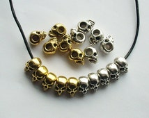 10 Antique Silver or Gold Solid Heavy Skull Beads 14mm