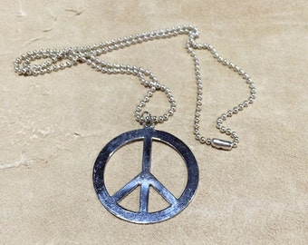 Peace Sign Necklace Silver on silver ball chain