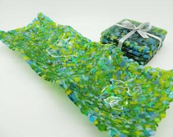 NOW REDUCED Fused glass green blue trinket dish, tealight holder. Handmade green nibbles dish. Wedding anniversary, housewarming gift.