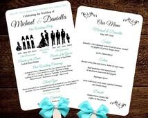 Silhouette Wedding Program Template Fan Menu DIY  - Choose Silhouettes Dresses Colors - You Edit Text