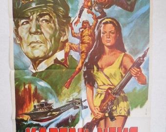 1969 Captain Nemo and the Underwater City Turkish Movie Poster One Sheet 27x40 NOS Turkey
