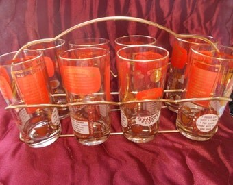 Set of Eight Barware Glasses and Tote (1567)