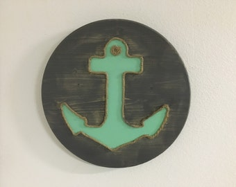 Anchors, nautical decor, beach decor, anchor decor, anchor wood sign, nautical wood sign, beachy decor, nautical nursery, sea foam green