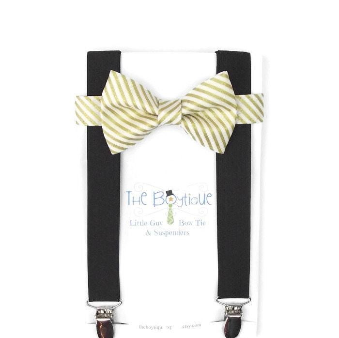 gold striped bow tie black suspenders metallic gold boys