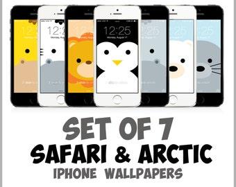 Safari and Arctic Animal iPhone wallpapers (lion, zebra, giraffe, hippo, penguin, seal, polar bear) iPhone 5, 5c, 5s, 6, 6 Plus