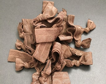 Brown elastic hair ties