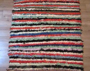 Moroccan rug boucherouite ref 055 (or boucharouette) 233 x 135 cm (7,64 x 4,43') berber tribal art