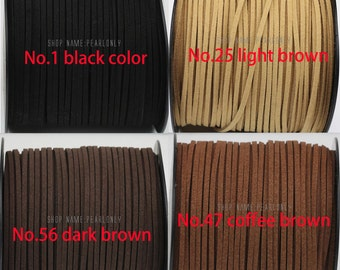 Suede cord,1.5X2.5mm flat faux suede cords,vegan suede cord,suede lace string,DIY suede leather cord supply,2yard,5yard,10yard,20yard,50yard