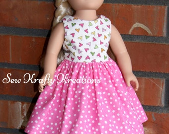"Multicolor Hearts and Pink Spots Doll Dress for 18"" doll like American Girl"
