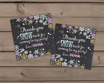 Winter ONEderland Thank You Tags Favor tags Winter birthday party snowflakes Pink Gold mint Thank you personalized Favor tags PRINTABLE wos