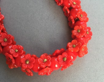 1930's Red Glass Flower Bead Necklace