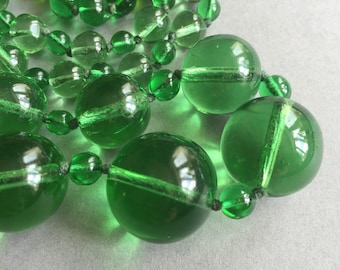 1950's Long Green Glass Beads Necklace