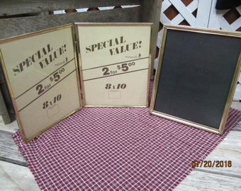3 Vintage Brass 8 x 10 Photo Frames Standing Hinged Double  8x10 Intercraft Brass Frame Art Deco Metal Picture Frames