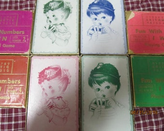 Sale was 24.75~Vintage Children's Playing Cards Games Fun with Numbers lot of 4 decks assortment 1951