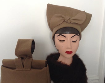 1940's Replica Oversized Beret in Light Brown. SOLD. Please Message me if you would like to place and order for this Item.