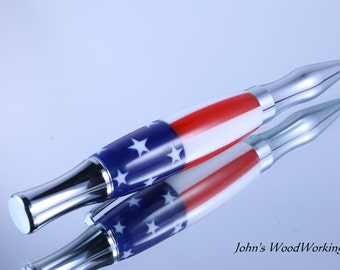 Writing Pen - Ink Pen - Turned Pens - Stars and Stripes - Handcrafted Pen - Ballpoint Pen
