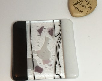 Fused glass coaster, white, black, purple