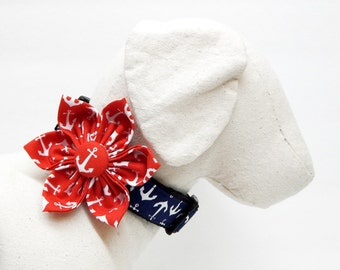 Dog Bow Tie or Flower Collar Combo - Anchors Aweigh - Red White & Blue