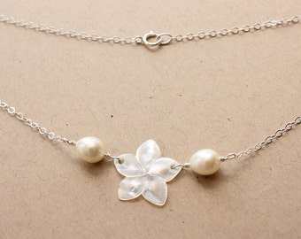 Delicate Plumeria Pearl Necklace, Delicate Pearl Frangipani Necklace, Hawaiian Plumeria Necklace, Beach Wedding Necklace, Bridesmaid Gifts