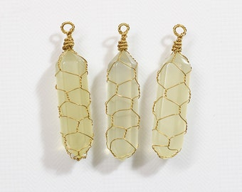 Wired Point Lemon Quartz Pendants YHA-109