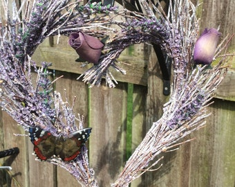 Natural twig and Lavender wall hanging