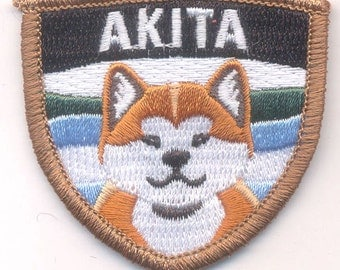 Embroidered RED Akita patch