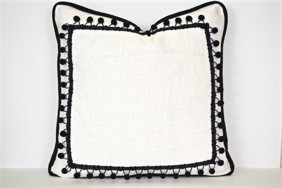 Black and White Pillow with Ball Fringe - Modern Pillow