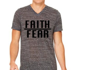 Faith over fear|be strong and courageous|christian t-shirt|dark gray shirt|Whosoever believes in me|shirt for new christian