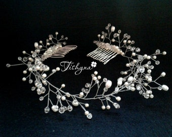 Bridal Hair comb Wedding Hair Vine prom hair Bridal Head piece Pearls crystal Bridal Headband Hairpiece Hair Vine party Tiara Diadem Wedding