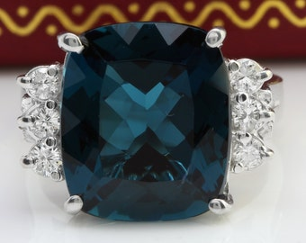 8.50 CTW Estate Natural London Blue Topaz and Diamonds in 14K White Gold Ring