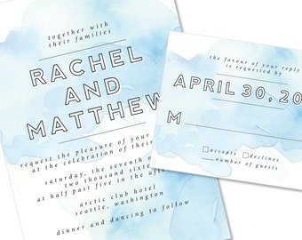 Watercolor Wedding Invitation   Blue / Ocean Painted Wedding Invitation   DIY Option Available   Invitation   RSVP   Info Card #140