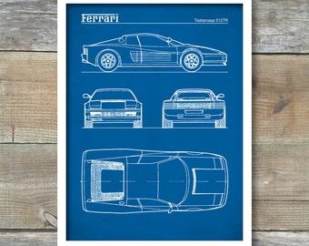 Patent Print, Ferrari Testarossa Blueprint, Ferrari Testarossa Poster, Ferrari Testarossa Art, Ferrari Testarossa Decor, P282