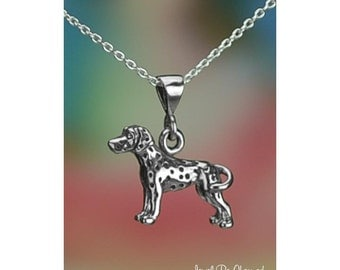 """Sterling Silver Dalmatian Necklace 16-24"""" Chain or Pendant Only .925"""