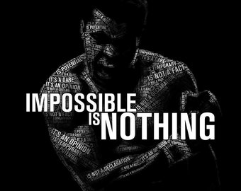 Muhammad Ali Impossible is Nothing - poster print or canvas art typographic print motivational wall decor