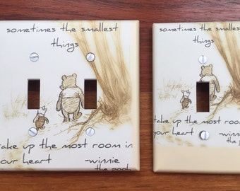 Classic Winnie the Pooh classic Light switch cover baby nursery // sometimes the smallest things // SAME DAY SHIPPING**