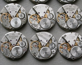 "1"" , Set of 24  Vintage Soviet Watch movements , steampunk parts"
