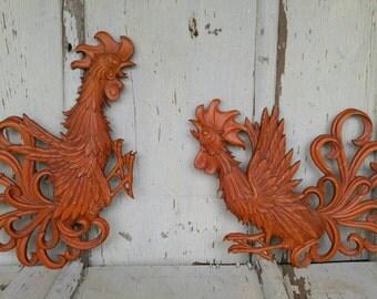 Vintage Red Orange Cast Iron Rooster Set