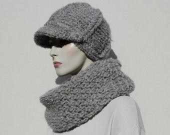 Women Newsboy, Set of Grey Newsboy Hat and Scarf, Hat and Scarf Set, Warm Scarf, Infinity Scarf, Crochet Hat, Hand Knit Hats, Circle Scarf