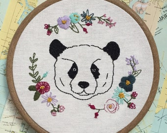 Woodland panda embroidery hoop with flower wreath
