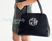 Monogrammed Purse - Monogrammed Handbag - Top Handle Handbag - Sea Green - Black - Camel - Navy
