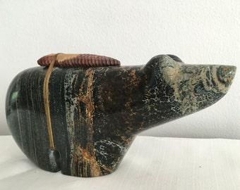 Zuni Fetish Large Carved Stone Bear with Arrowhead Sculpture Spirit Bear
