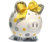 "Dots and Stripes  - Personalized Piggy Bank Ceramic - Hand-painted - Large Size (8"" X 7.5"" X 7"")"