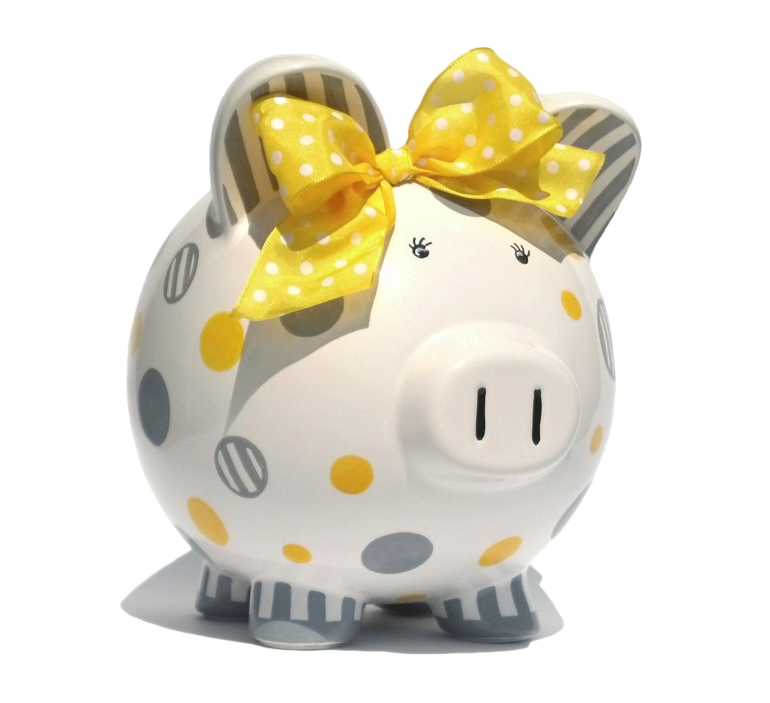 Dots And Stripes Personalized Piggy Bank Ceramic