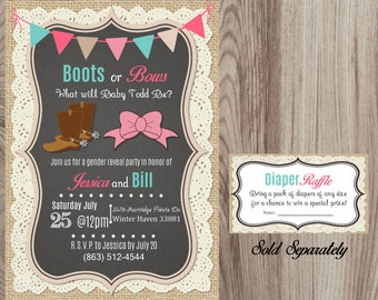 Burlap and Lace Boots or Bows Gender Reveal Party Invitation DIY Printable