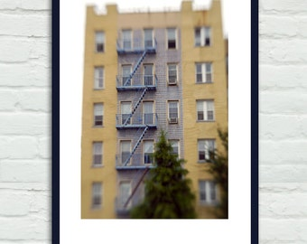 Apartment buidling photography, fire escape print, blue mustard yellow decor, vertical print, Brooklyn urban office decor dorm wall art