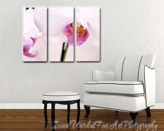 Floral Canvas Art 3 Piece Wall Panel Extra Large Orchid