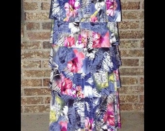 """The """"Lainey"""" Ruffle Skirt in Post Card Print"""